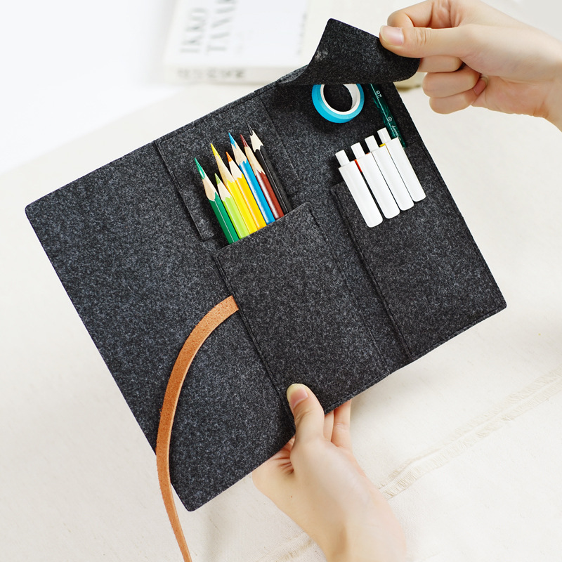 Fodable Pencil Case Bag Sleeve Made of Felt & Leather Strap